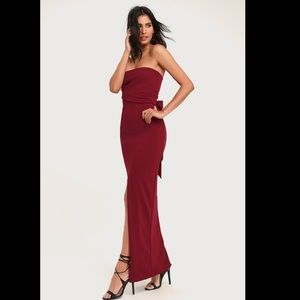 Lulu's Own the Night Wine Red Strapless Maxi Dress